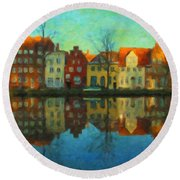Historic Old Town Lubeck Round Beach Towel