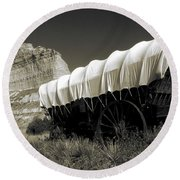 Historic Oregon Trail - Vintage Photo Art Print Round Beach Towel
