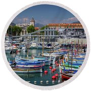 Historic Port Of Nice, France Round Beach Towel