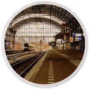 Historic Railway Station In Haarlem The Netherland Round Beach Towel
