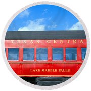 Historic Red Passenger Car, Austin & Round Beach Towel
