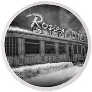 Historic Rosie's Diner In Black And White Infrared Round Beach Towel