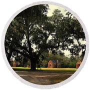 Historic Slave Houses At Boone Hall Plantation In Sc Round Beach Towel