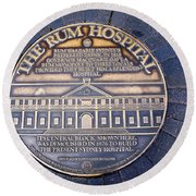 Historic Sydney Hospital - Plaque On Sidewalk Round Beach Towel