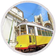 Historic Tram And Lisbon Cathedral Round Beach Towel