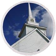 Historic White Church Round Beach Towel