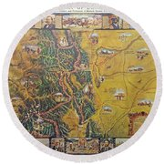 Historical Map Of Early Colorado Round Beach Towel