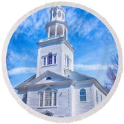 Historical Old First Church Round Beach Towel
