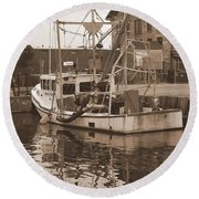 Historical Waterfront  Round Beach Towel