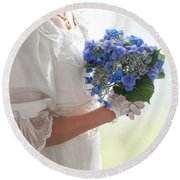 Historical Woman Holding A Bouquet Of Hydrangea  Round Beach Towel
