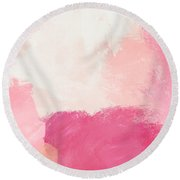 History Of Pink- Abstract Art By Linda Woods Round Beach Towel