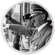 Hitler And Italian Count Ciano Chancellory Berlin 1939 Round Beach Towel