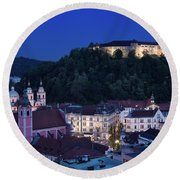 Hlltop Ljubljana Castle Overlooking The Old Town Of Ljubljana Ca Round Beach Towel