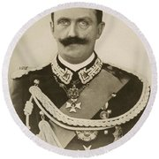 H.m. Victor Emmanuel IIi Of Italy Round Beach Towel