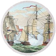 Hms Shannon Vs The American Chesapeake Round Beach Towel