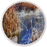 Hoar Frost On Reeds Round Beach Towel