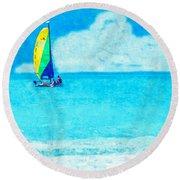 Hobie Sailing Off Lido Beach Coast Round Beach Towel