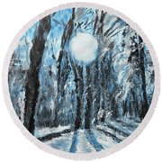 Hochleite In January Round Beach Towel