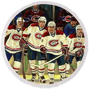 Hockey Art The Habs Fab Four Round Beach Towel by Carole Spandau
