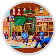 Hockey At Mehadrins Round Beach Towel