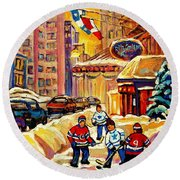 Hockey Fever Hits Montreal Bigtime Round Beach Towel