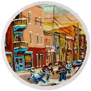 Hockey Game Fairmount And Clark Wilensky's Diner Round Beach Towel