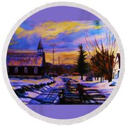 Hockey Game In The Village Round Beach Towel by Carole Spandau