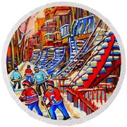 Hockey Game Near The Red Staircase Round Beach Towel by Carole Spandau
