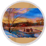 Hockey Game On Frozen Pond Round Beach Towel