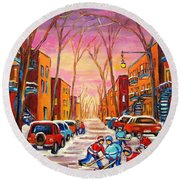 Hockey On Hotel De Ville Street Round Beach Towel
