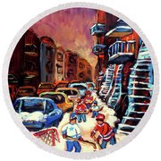 Hockey Paintings Of Montreal St Urbain Street Winterscene Round Beach Towel