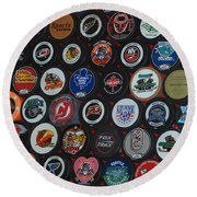 Hockey Pucks Round Beach Towel