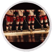 Hockey Reflection Round Beach Towel