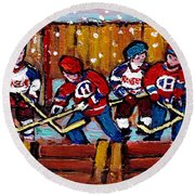 Hockey Rink Paintings New York Rangers Vs Habs Original Six Teams Hockey Winter Scene Carole Spandau Round Beach Towel