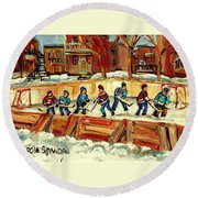 Hockey Rinks In Montreal Round Beach Towel by Carole Spandau