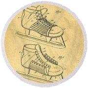 Hockey Skates Patent Art Blueprint Drawing Round Beach Towel