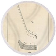 Hockey Stick Patent - Patent Drawing For The 1901 W. Dean Hockey Stick Round Beach Towel