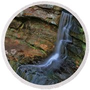Hocking Hills State Park Small Waterfall Round Beach Towel