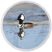 Hodded Merganser With Reflection Round Beach Towel
