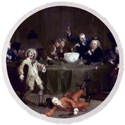 Hogarth: Midnight, 1731 Round Beach Towel