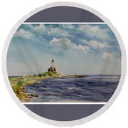 Hogby Lighthouse Round Beach Towel
