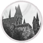 Hogwarts Castle Black And White Round Beach Towel