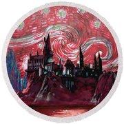 Hogwarts Starry Night In Red Round Beach Towel