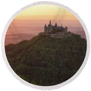 Hohenzollern Castle At Sunset Round Beach Towel by Yair Karelic