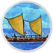 Hokulea Hawaiian Ocean Going Outrigger Canoe #49 Round Beach Towel