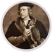 Holbein: Falconer, 1533 Round Beach Towel
