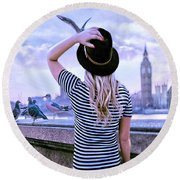 Hold Onto Your Hat Round Beach Towel