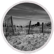 Holding Back The Dunes In Black And White Round Beach Towel