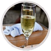 Holding Champagne Glass In Hand Round Beach Towel