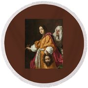 Holding The Head Of Holofernes Round Beach Towel
